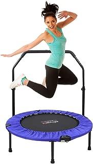 ATIVAFIT 40 英寸可折叠蹦床迷你健身反弹器,带可调节泡沫把手,非常适合健身,室内/花园/锻炼