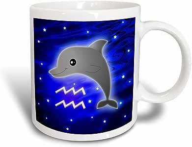 3drose janna salak 设计星座–可爱占星术 Aquarius zodiac SIGN 海豚–马克杯 黑色/白色 11 oz
