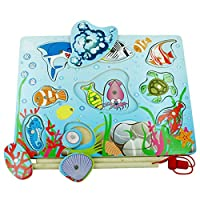 木马智慧 木制儿童钓鱼游戏玩具 海洋生物 双层钓鱼拼版 10149-1