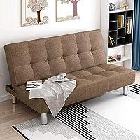 折叠沙发床办公室单人床双人1.2米午休床折叠床实木框架家用北欧风情布艺沙发 (咖啡色 165cm)