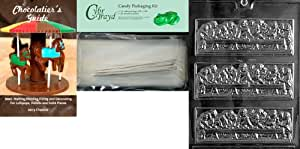 Cybrtrayd Last Supper Bar Chocolate Candy Mold with Chocolatier's Bundle, Includes 25 Cello Bags, 25 Silver Twist Ties and Chocolatier's Guide
