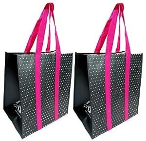 Buti Earth 袋超大可重复使用的购物袋带提手加固底部,开放式折叠扁平,优质擦拭清洁手提袋(2 包,黑色蕾丝) 黑色/白点 BEB-MTG