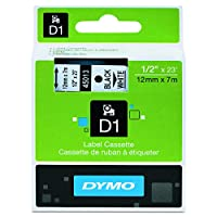 Dymo D1 Standard Self-Adhesive Labels for LabelManager Printers, 12 mm x 7m - Black Print on White