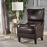 Christopher Knight 家居 295960 Elijah 粘合皮革沙发椅,棕色