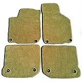 Downard 汽车地垫兼容大众甲壳虫 4 件套定制地毯地垫米黄色所有垫子上有 2 个椭圆形索环 1998-2010