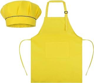 SUNLAND 儿童围裙和帽子套装 儿童厨师围裙 烹饪烘焙绘画 黄色 中
