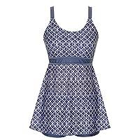 DANIFY 女式加大码泳衣复古印花两件套泳衣分体泳衣泳装 灰色 Tag56/US22