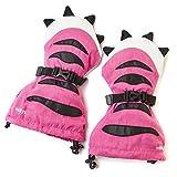 Veyo 儿童 - 粉色虎爪子 Mittyz - 防水儿童手套,幼童手套,易穿,持久耐穿,非常适合滑雪、滑雪和冬季玩耍