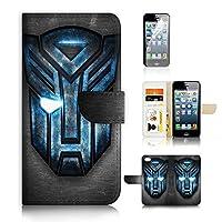 ( 适用于 iPhone 55s / iphone SE ) 翻盖钱包手机壳保护套和屏幕保护套装 A0165Transformer Autobot