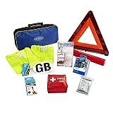Ring RCT1 10 件欧洲旅行套装,带警告三角形、2 件高可见度背心、灯泡套件、NF *剂、急救套件、铝箔毯、光束反射器、GB 贴纸和收纳盒