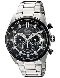 Pulsar 男式 PX5033 太阳能计时码模拟显示屏日本石英银色手表