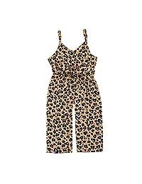 女童夏季花卉印花连衫裤绷带无袖连身衣 1 件夏季