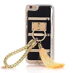 iPhone 6 手机壳 - LU2000 Apple iPhone 6(4.7 英寸)毛绒效果奢华 3D 兔毛毛毛皮绒手机套闪亮珍珠水晶钻石闪耀床宝石装饰 Leather Face with Tassel - Black