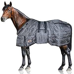 "Derby Originals Windstorm 系列优质马和草皮冬季稳定毛毯,420D 透气尼龙外层 - 中等重量 200 克聚纤维隔热材料 炭黑色 72"""