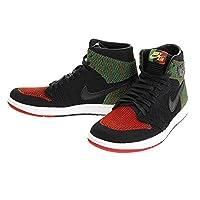 NIKE Men's Air Jordan 1 High Flyknit BHM Shoe Black/Red/Green (9.5 D(M) US)
