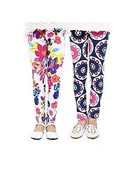Ehdching 2 件装儿童女童可爱印花花朵经典打底裤 女孩裤子