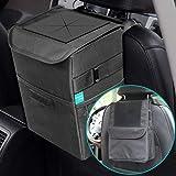 YOUMILE 带盖汽车垃圾桶,垃圾桶汽车垃圾袋悬挂储物袋可折叠便携式防漏防水乙烯基内衬(2.65 g)