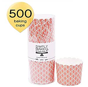 Simply Baked 大号纸烘焙杯,轻松时尚娱乐杯,深杯蛋糕,冰淇淋,开胃菜等 Coral Wave 500-Pack COMINHKG118372