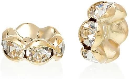 *品质花朵玻璃垫圈珠奥地利水晶镀金水钻珠子用于珠宝制作 金色 6mm
