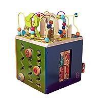 B.Toys 比乐 动物园活动木立方 多功能益智木制百宝箱玩具 轨道串珠 认识图形数字 中号动物园 早教 1-3岁 BX1004Z/X 婴幼儿童益智玩具 礼物