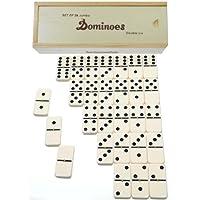 Dominoes Jumbo 锦标赛 米白色带黑色管道 _ 双 6 套 28 _带黄铜转轴