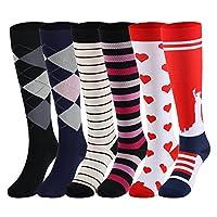 YOLIX 压力袜 男女 20-30 mmHg - 3/6 双 - *佳膝袜跑步、旅行、*、怀孕、*、教师