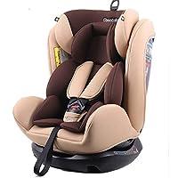 REEBABY 瑞贝乐 汽车儿童安全座椅ISOFIX 0-4-6-12岁婴儿宝宝新生儿可躺 906FIX咖色(亚马逊自营商品, 由供应商配送)