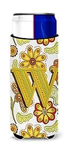 Caroline's Treasures CJ2003-WCC Letter W Floral Mustard and Green Can or Bottle Hugger, Multicolor