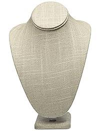Caddy Bay Collection 灰色亚麻项链珠宝展示支架人偶 19.05 厘米 x 13.97 厘米 x 27.94 厘米