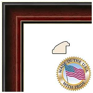 ArtToFrames 12.70x53.34cm / 12.70cm x 53.34cm 画框樱桃红褐色画框带黑色斜切内芯 .3.81cm 宽 (2WOMZ9100)