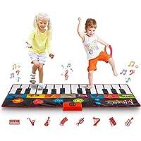 Abco Tech 大型钢琴垫 - 大型地板键盘,带播放、录音、播放和演示模式 - 新外观 - 8 种不同的乐器声音选择 - 70 英寸玩垫 - 24 键