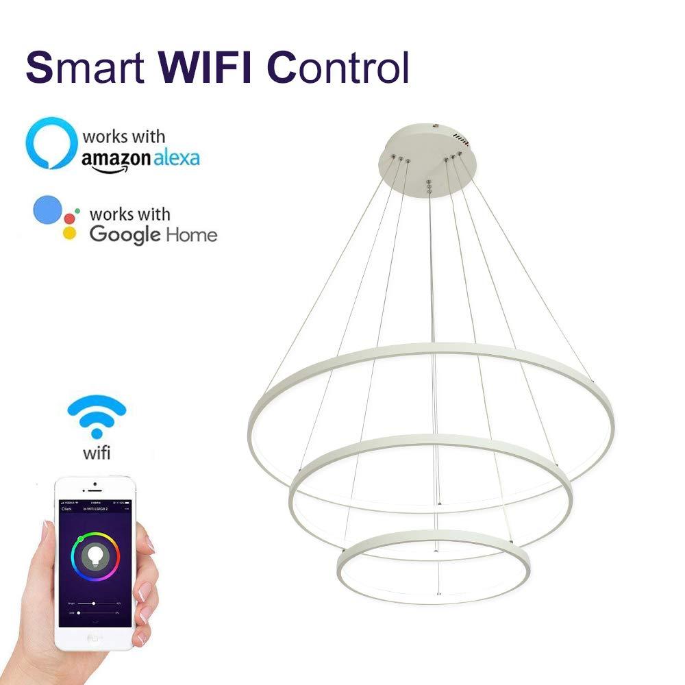 LightInTheBox 智能 WiFi LED 3 环吊灯岛餐厅照明灯具,*大 90 瓦涂漆的智能手机控制兼容亚马逊 Alexa 和 Google Home White Wifi S474572300018##wh=7