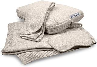 Jet&Bo * 纯羊绒旅行套装:毛毯、眼罩、袜子、手提/枕套 沙色