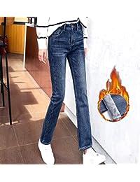 加绒直筒微喇牛仔裤女韩版显瘦宽松喇叭9分裤加厚高腰冬季潮L-ZY9911