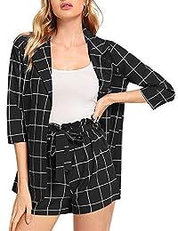 Shein 女式 2 件套格子薄七分袖西装和自系腰带短裤套装