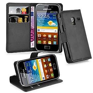 Cadorabo 手机壳适用于三星 Galaxy ACE Plus 书籍 - 带磁扣,支架功能和卡槽 - 钱包式手机壳 Etui 盖 PU 皮革翻盖DE-102554 OXID-BLACK
