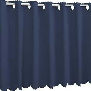 1級遮光 防炎カフェカーテン オーダー感覚17色 インディゴブルー 蓝色 幅 80cm