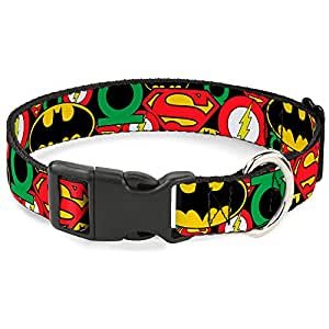 """Buckle Down Justice League 堆叠标志塑料夹领 NL - Fits 9-15"""" - 0.5"""" Wide"""