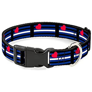 "带扣旗帜 适合黑色/灰色/白色/紫色塑料夹领 Flag Leather Black/Blue/Red/White 1"" Wide - Fits 15-26"" Neck - Large"