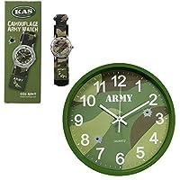 儿童*迷彩时钟和*迷彩手表套装,卧室或登座钟