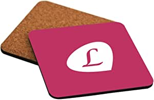 """Rikki Knight Letter """"L"""" Winter Fuchsia Initial Petal Leaves Design Cork Backed Hard Square Beer Coasters, 4-Inch, Brown, 2-Pack"""