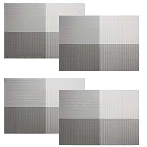餐垫,Reachs 编织乙烯基垫,可水洗绝缘垫餐桌 4 件套 灰色/白色 COMINHKPR115393