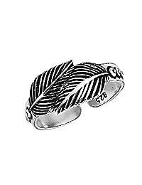 AeraVida Loving Nature 双叶或羽毛包裹。 925 纯银趾戒或粉色戒指