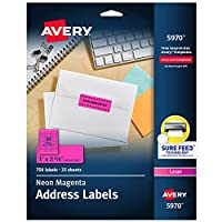 Avery High-Visibility Laser Labels, 1 X 2-5/8, Neon Green, 750/Pack