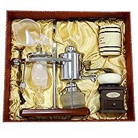 纳丽雅家用手动咖啡机比利时壶礼盒装银色