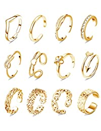 WFYOU 12 件可调节女士脚趾戒指银玫瑰金露趾戒指套装海滩*珠宝尾环  金色