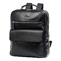 CLUCI 背包男式真皮 15.6 英寸笔记本电脑大号旅行商务设计师单肩包带黑色
