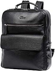 CLUCI 背包男式真皮 15.6 英寸筆記本電腦大號旅行商務設計師單肩包帶黑色