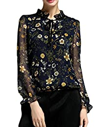MissLook Women's Stand Collar Frill Sleeve Mesh Vintage Floral Print Chiffon Blouse Top