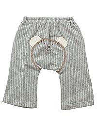 《春夏对应》(日本制造) BO-PEEP(男孩) 毛圈布条纹熊脸猴子短裤 NO.DP-71704 [対象] 12ヶ月 ~ 灰色 70